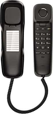 Gigaset DA210 Corded Phone/Bathroom Phone with 10 Speed Dial Entries, Wall Mountable, 3 Mtr Cable, Volume Control, 3 Ringtone, Mute Key with LED, Pause Key, Germany Technology for Home & Office, Black
