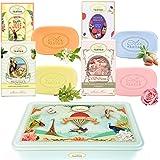 Coffret Cadeau Femme 4 Savons aux Huiles Bio Un Air d'Antan® Dans Une Boite Rétro/Verveine de Provence, Rose, Amande, Floral/