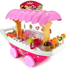 Smartcraft Luxury Ice Cream Sweet Candy Cart Playset Toy with Lights and Music, Candy Muffin Cake Sweet Shopping Cart
