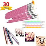 SGM® Nail Art Paint kit,15 Pieces Nail Art Paint Brushes with 5 Pieces 2 Way Marbleizing Dotting Pen and 10 Pieces…