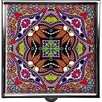 metALUm Pillendose/quadratisch / Modell Thorben/Blumenmuster und Ornamente in pink und grün / 42010014 preisvergleich bei billige-tabletten.eu
