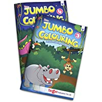 Blossom Jumbo Creative Colouring Books Combo for Kids | 6 to 10 years | Best Gift to Children for Drawing, Coloring and Painting with Colour Reference Guide | Level 3 and 4 - Set of 2 Books | A3 Size