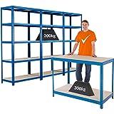 Certeo Megadeal   Set van 1x werkbank (diepte 60 cm) en 3x heavy duty rekken (diepte 45 cm)   Metalen rek Kelderrek reknrek W