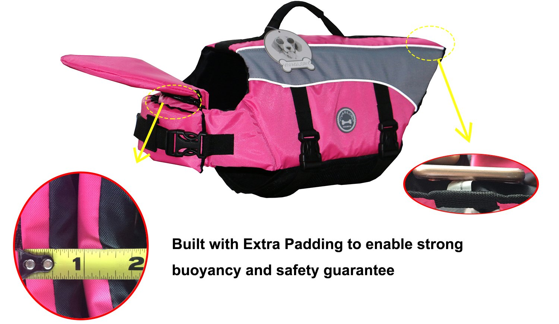 Vivaglory Dog Life Jacket Adjustable Buckle Dog Safety Vest Pet Lifesaver Coat, Extra Small, Blue
