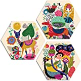 ARTAMORI ® Modern Art 3 Piece Hexagon MDF Painting