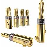 KabelDirekt Conectores Banana, (Conectores de 6mm², 5 Parejas, bañados en Oro de 24 Quilates, para Forma Flexible el Cable a