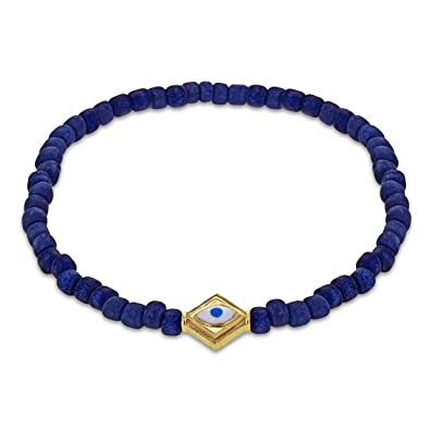 LUIS MORAIS 14ct Yellow Gold Evil Eye Lozenge Beaded Bracelet