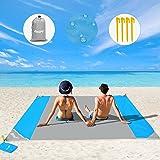 OUSPT Picknickdecke 210 x 200 cm, Stranddecke wasserdichte, Sandabweisende Campingdecke 4 Befestigung Ecken, Ultraleicht komp