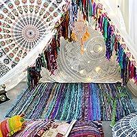 Tapis chindi indien - Fait à la main avec des bouts de tissu multicolores recyclés - Tapis décoratif style Boho - 150 x 90 cm (Turquoise)
