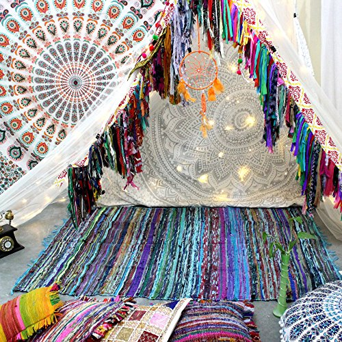 Tappeto pezzotto realizzato a mano con materiali riciclati, tappeto indiano Chindi multicolore, boho-chic decorativo (150x 90cm) Turquoise