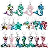 20 Piezas de Llaveros con Lentejuelas Reflectantes de Dos Caras Reversibles en Forma de Sirena Estrella Delfín Cola de Sirena