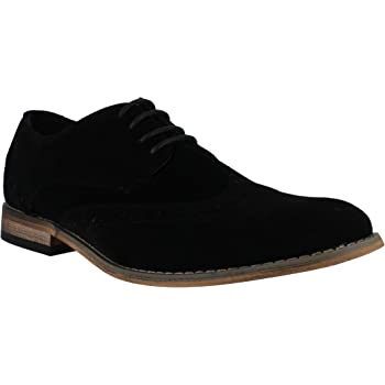 76e033ad68554 Classics Mens Faux Suede Smart Formal Casual Lace Up Brogues Shoes UK7 Black