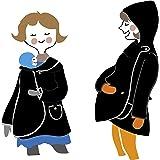 Manduca by MaM - Giacca/cappotto per gravidanza con cappuccio (pile polare), taglia unica, bottoni (bottoni naturali), colore