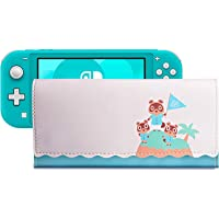 PALPOW Leather Carrying Case for Nintendo Switch Lite, Portable Leather Clutch with Game Card Holder (White)