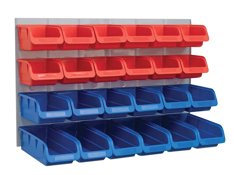 plastic storage bins. faithfull 24 plastic storage bins with metal wall panel: amazon.co.uk: diy \u0026 tools b