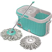 Spotzero by MiltonE-EliteSpin Mop with Bigger Wheels and Plastic Auto Fold Handle for 360 Degree Cleaning (Aqua Green, Two Refills)