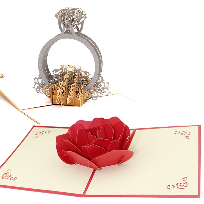 3D Popup Card, Funpa 2Pcs Biglietto D Auguri Festival Hollow Ring LOVE Flower Heart Popup Cards Per