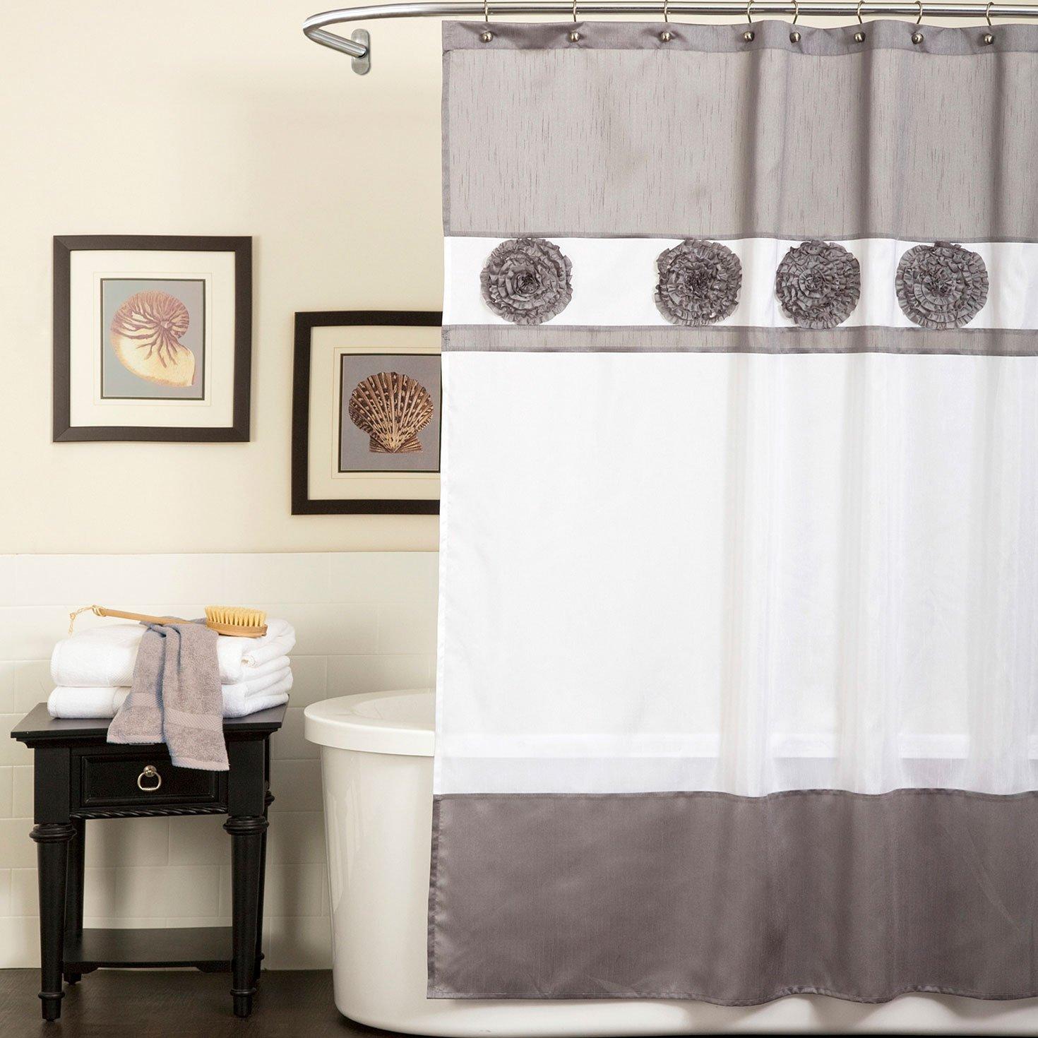 Triangle Home Fashions 15978 Lush Decor Seascape Shower Curtain, Gray
