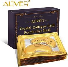 Aliver nuovo cristallo 24 K Oro in polvere gel maschera di collagene 10 paia / pacchetto