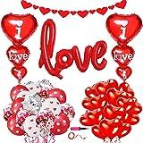 34 Piezas Kit de decoración de globos de San Valentín-Globos de corazón rojo Globos de confeti rojo y pancarta de corazón par