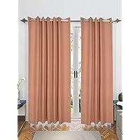 Saral Home Beige Decorative Waffle Design Cotton Yarn Eyelet Door & Windows Curtain - ( Set of 2, 4x7 Feet )