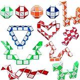 12 Pezzi 24 Blocchi Mini Cubo di Serpente, Magic Snake Cube, Cubi velocità Magici, Mini Giocattolo Puzzle Cubo di Plastica pe
