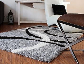 Teppich schwarz weiß grau  Teppich Hochflor Shaggy Linien Muster Grau Schwarz Weiss, Grösse ...