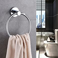 INDISWAN™ Bathroom Towel Napkin Ring Stainless Steel (Silver, Chrome Finish)