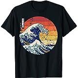 Kanagawa Hokusai Uomini Retro giapponese grande onda di Maglietta