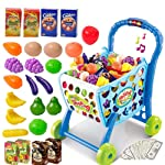 SAISAN 3 in 1 Kids Supermarket Plastic Shopping Cart Hand Induction with Light and Sound Pretend Play Toy for Kid with...