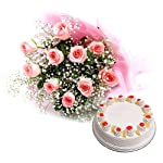 Bigwishbox Premium Fresh 10 Pink Rose Bouquet with 500gm Pineapple Cake