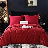 RUIKASI Bed Linen Set 220 x 240 cm Burgundy 100% Soft and Comfortable Microfibre Sleeping Comfort - 1 Duvet Cover 220 x 240 c
