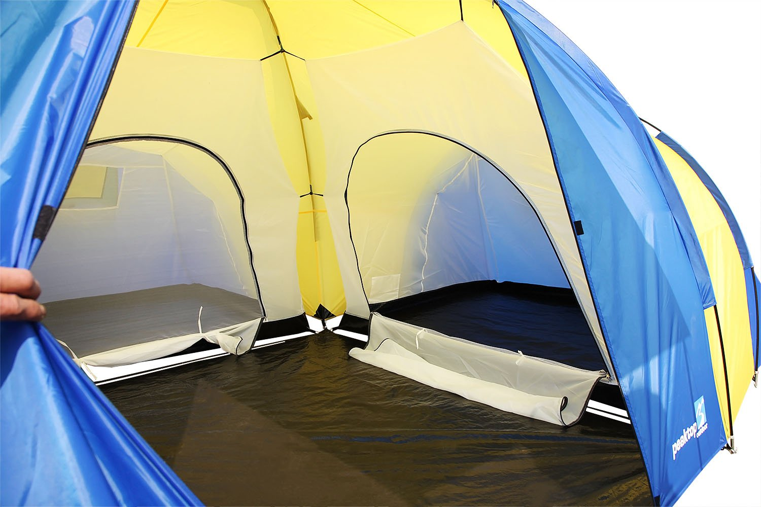 Peaktop 3 Bedrooms 1 Large Living Room 8 Persons Camping Tent Family Group Double Poles Hiking Beach Outdoor Tunnel Dome 3000mm Waterproof &UV Coated Bright Color 1 Year Warranty (5 Shapes) 5