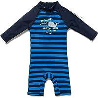 BONVERANO Costume da bagno per bambini, a maniche lunghe, con protezione UV 50+, con chiusura lampo