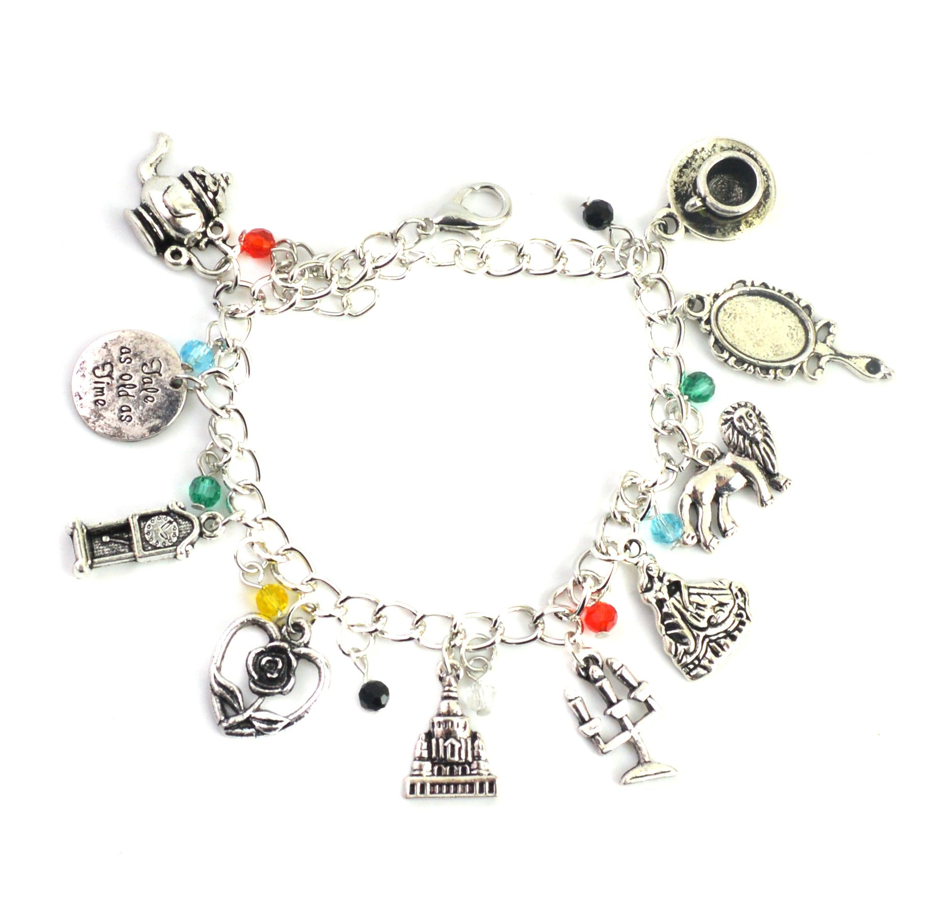 Beauty And The Beast Charm Bracelet – Movie Inspired Silver Bracelet For Girls in Gift Box