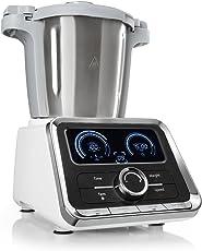 Klarstein GrandPrix Küchenmaschine Rührmaschine Knetmaschine 500-1000 Watt 2,5 Liter Edelstahlschüssel Temperatur von 30 bis 120 °C einstellbar 12 Geschwindigkeitsstufen silber