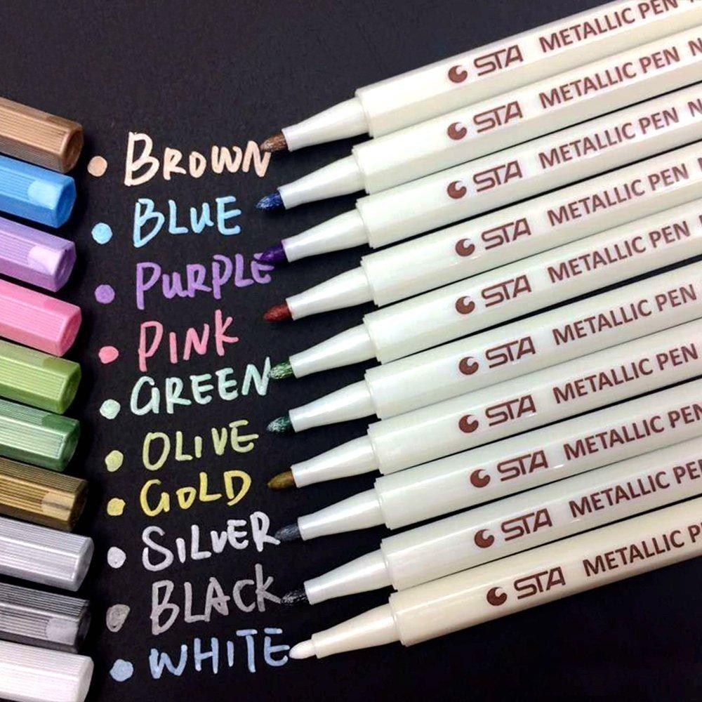 Evidenziatori in metallo, Set di 10 evidenziatori in metallo, colori assortiti. Efficaci su carta, v