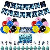BAIBEI Sonic Decorazioni per Feste,Cake Topper,Striscione,Kit di Forniture per Feste di Compleanno,Sonic The Hedgehog Balloon