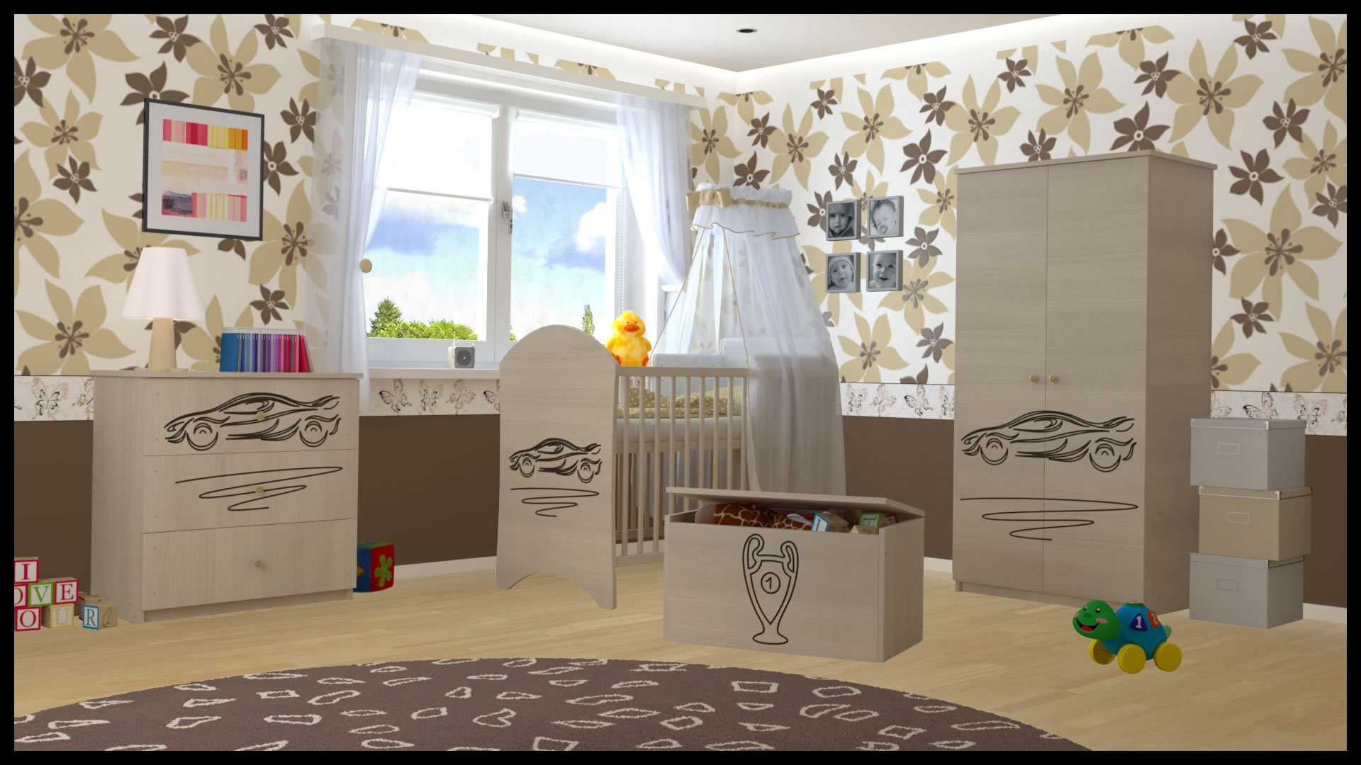 5 PCS BABY NURSERY FURNITURE SET - COT + MATTRESS + WARDROBE + CHEST OF DRAWERS + TOY BOX (model 9)  Included: cot + mattress + wardrobe + chest of drawers + toy box Material: wood GREAT QUALITY 1