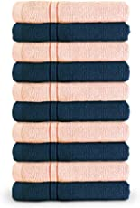Swiss Republic Face Towels Set- Essential Plus collection 480 GSM made with 100% ring spun extra soft cotton with quick dry and double stitch line for extra long durability - set of 10 face towels with 2 YEARS replacement GUARANTEE.