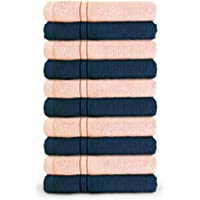 Swiss Republic Essential 10 Piece 480 GSM Cotton Face Towel - Pink and Dark Blue