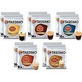 Tassimo Lot de 10 paquets de 160 dosettes de café à café Marcilla Café avec leche Cortado Espresso Grand café Descaféinado