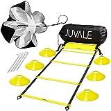 Juvale Hastighets- och agility träningsset – inkluderar agility stege 6 skivkoner motstånd fallskärm 4 stålinsatser med bärvä