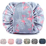 Drawstring Makeup Bag Travel Cosmetic Bag Pouch Toiletry Organizer Waterproof Large for Women and Girls (A Flamingo)