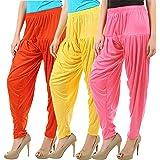 Buy That Trendz Combo Offer (Pack of 3) Cotton Viscose Lycra Dhoti Patiyala Salwar Harem Bottoms Pants for Womens (Rose, Yellow, Orange)