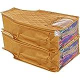 atorakushon® Satin Blouse Cover Clothes Storage Bag Garments Organiser for Wardrobe Pack of 2 (Golden)