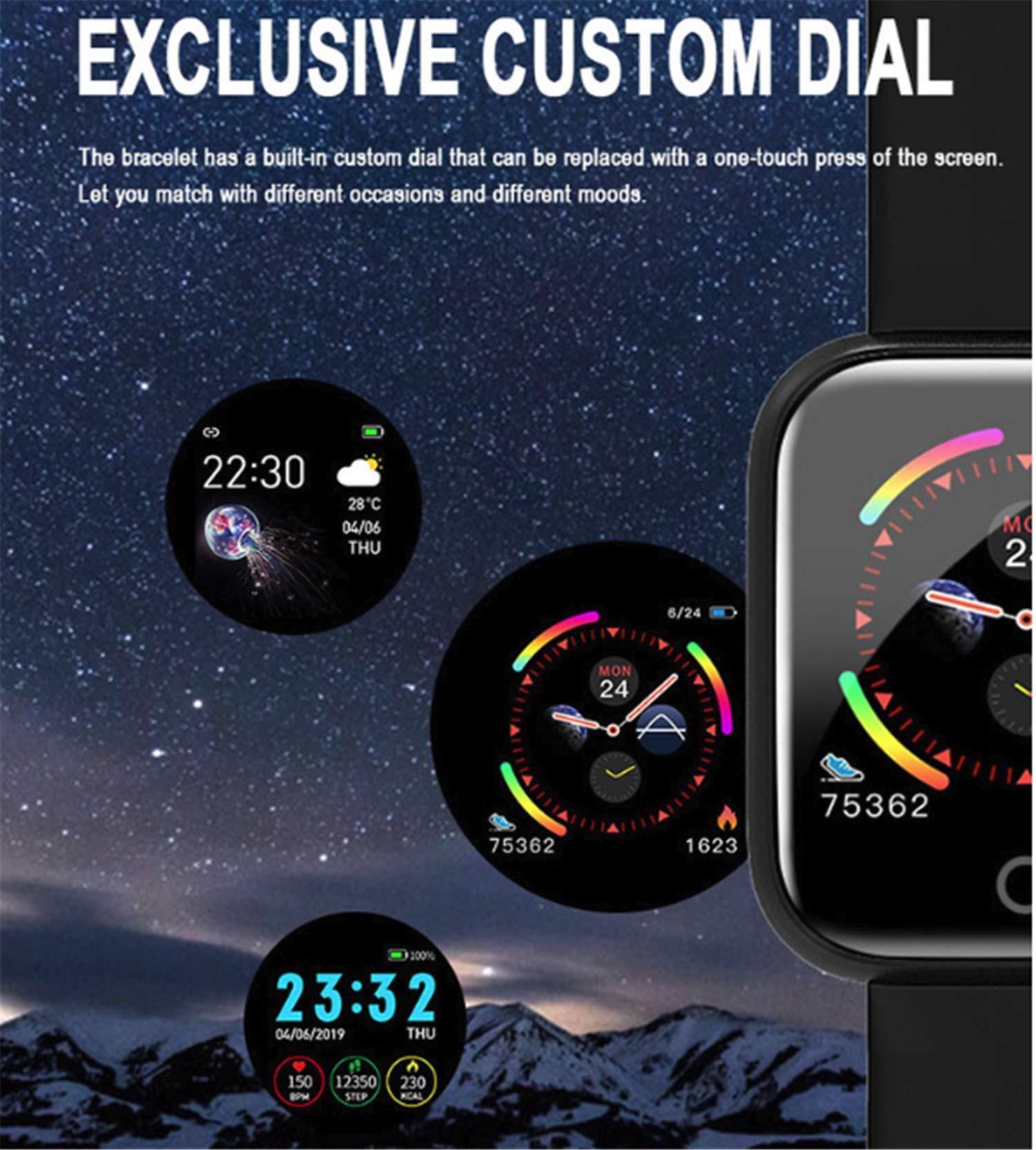 linyingdian Smartwatch, Reloj Inteligente Impermeable IP67 Pulsera de Actividad Inteligente con Monitor de Sueño Pulsómetros Podómetro Contador de Caloría, para Hombre Mujer niños 4