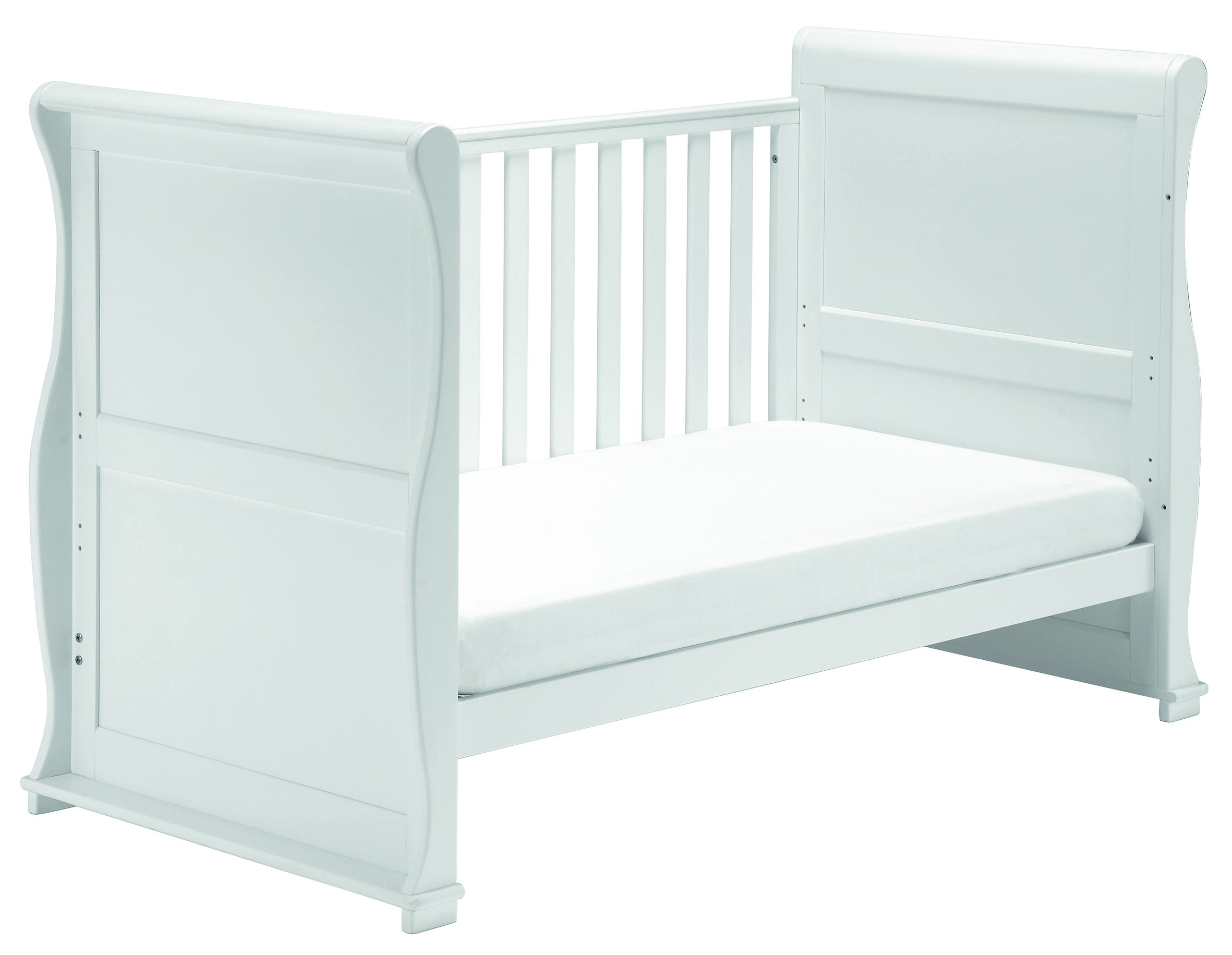 East Coast Nursery Alaska Sleigh Cotbed (White) East Coast Nursery Ltd 3 Base Heights 2 Fixed Sides Converts to day bed and toddler bed 2