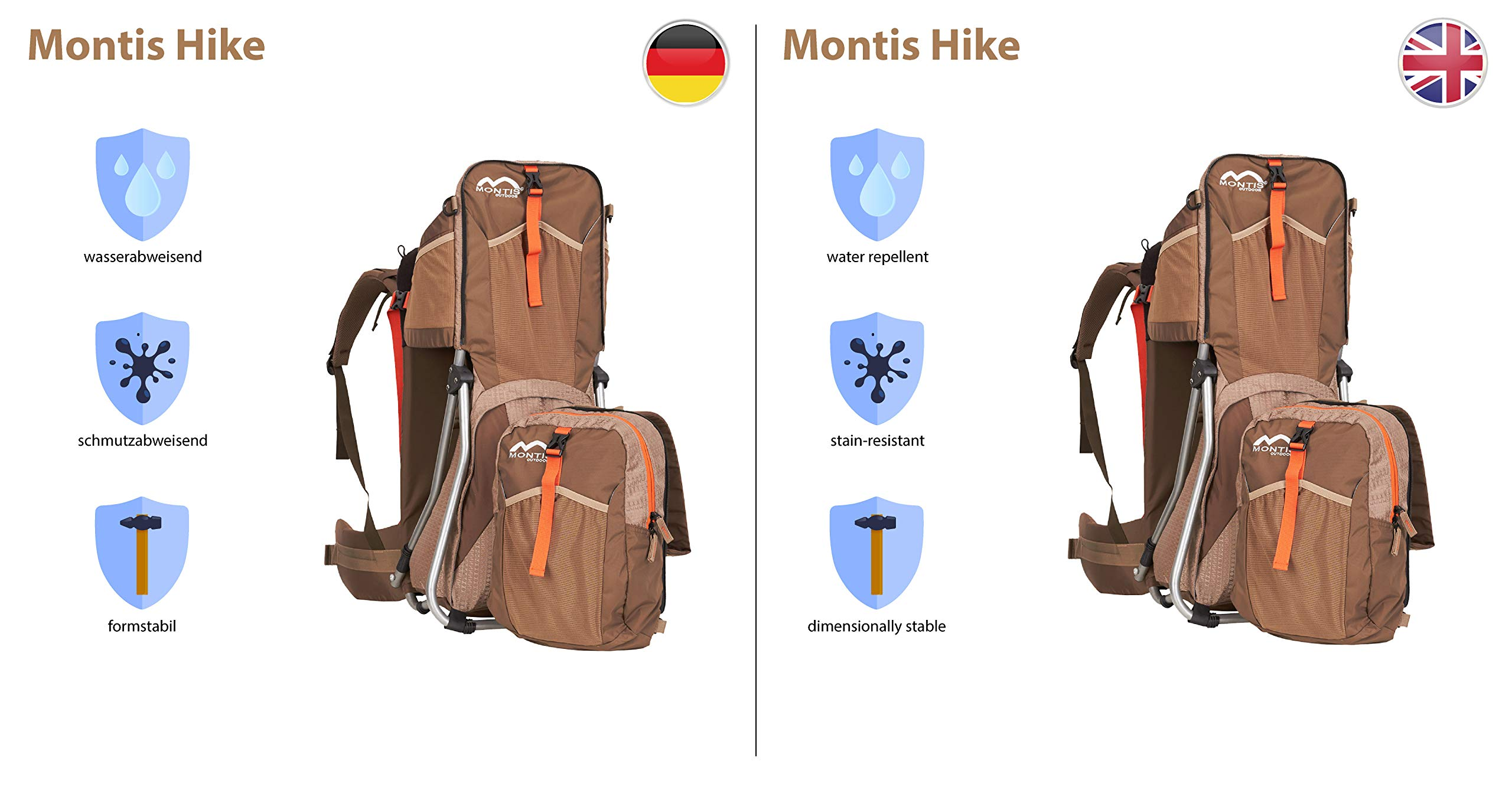 MONTIS HIKE, Premium Back Baby/Child Carrier, Up to 25kg, (mocha) M MONTIS OUTDOOR 89cm high, 37cm wide | up to 25kg | various colours | 28L seat bag Laminated and dirt-repellant outer material | approx. 2.2kg (without extras) Fully-adjustable, padded 5-point child's safety harness | plush lining, raised wind guard, can be filled from both sides | forehead cushion 5