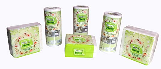 White Cherry Non Woven Napkin Combo 80 Pulls per roll & 50 Wipe per Pack (Pack of 6)